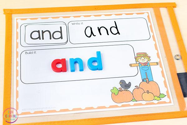 Pumpkin word building activity mats.