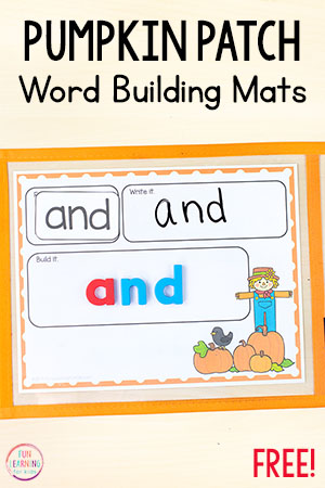 These pumpkin word building mats are perfect for literacy centers during your pumpkin theme. Teach names, sight words, spelling words and more this fall with this fun pumpkin activity.
