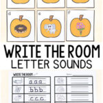 Pumpkin Beginning Sounds Write the Room Alphabet Activity