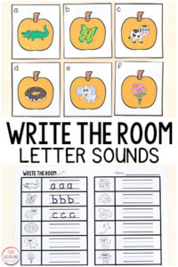 This pumpkin beginning sounds write the room activity is perfect for fall literacy centers or alphabet centers in preschool, pre-k, or kindergarten.