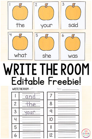 The kids will love this editable pumpkin sight word write the room activity! It is perfect for pumpkin literacy centers in kindergarten or first grade this fall. Teach sight words, CVC words, spelling words and more!