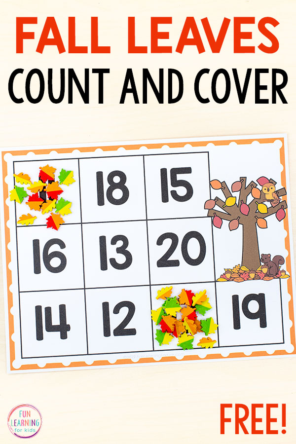 Fall counting mats with fall leaves on it.