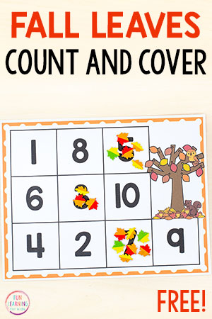 Fall counting mats for preschool and kindergarten.