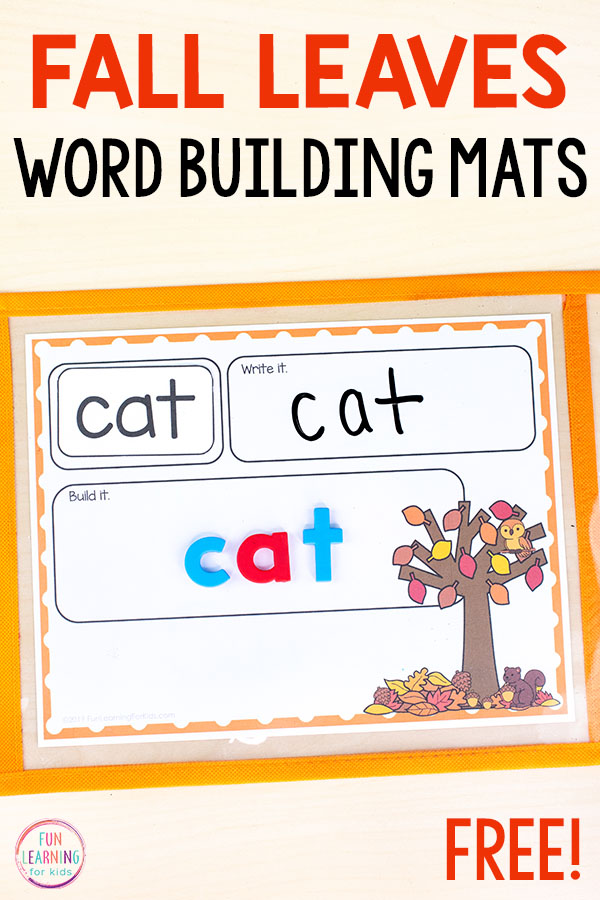 Word building mats with a fall tree and fall leaves on it.