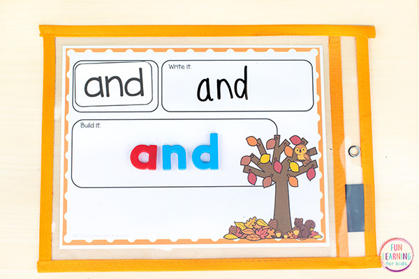 Fall word building mats for sight words