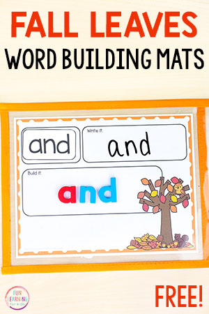Fall word building mats for kindergarten, first grade, or second grade.