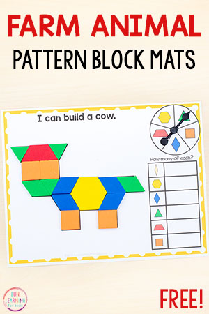 Farm theme pattern block mats for math centers in preschool and kindergarten.