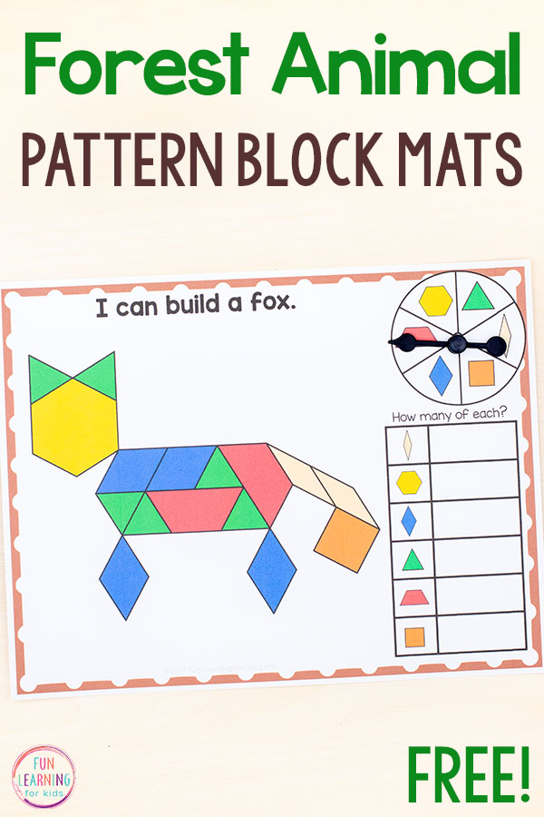Forest animal pattern block activity.