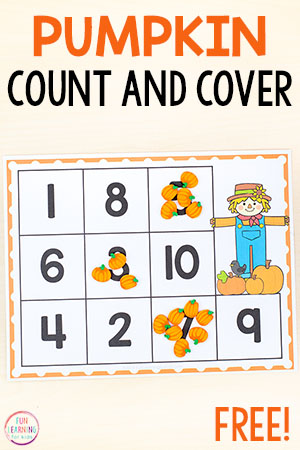 These pumpkin count and cover mats make for a fun pumpkin counting activity. Perfect for your fall theme math centers in preschool and kindergarten.