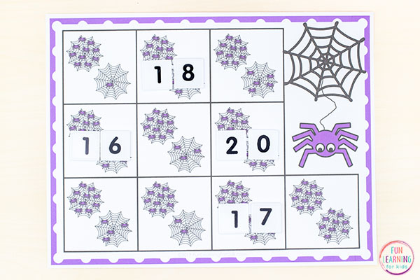 Spider math activity for your spider theme.