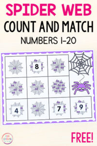 Spider counting activities for preschool math and kindergarten math.