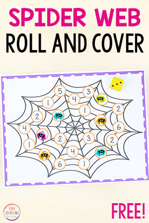A spider web counting math activity for preschool and kindergarten.