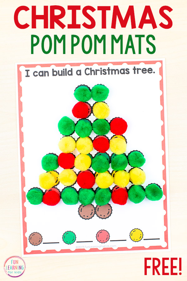 Christmas fine motor mats with Christmas designs on them. Match up the craft pom poms.