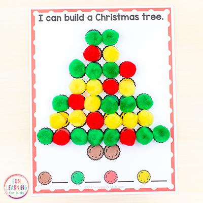 Fine motor activity mats that use pom poms to trace Christmas symbols.