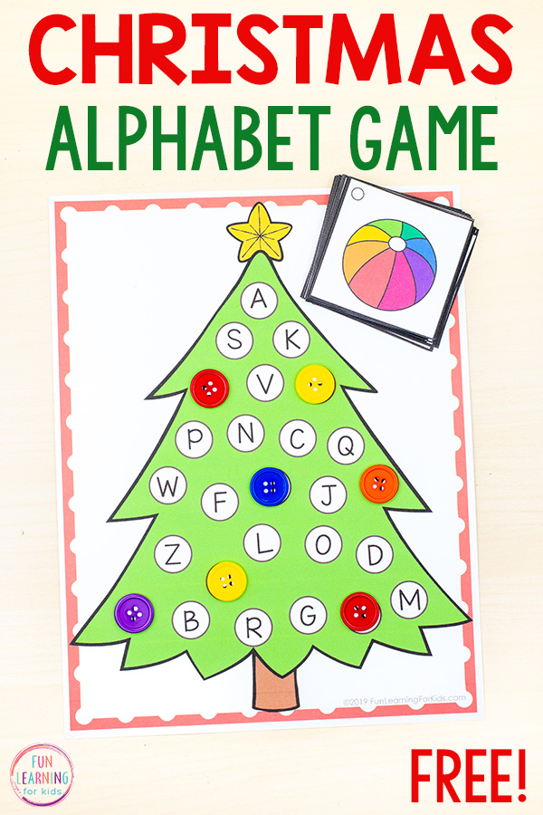 Christmas tree alphabet game with letters all over it to cover based on the beginning sound picture card you pull from the deck.