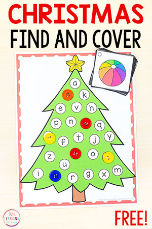 A fun Christmas alphabet activity with a tree and spots to cover letters of the alphabet.