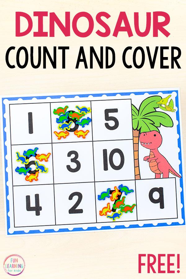 Dinosaur counting activity mats
