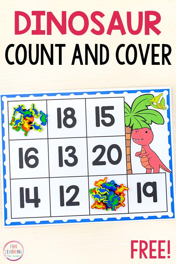 Dinosaur counting mats for preschool and kindergarten.