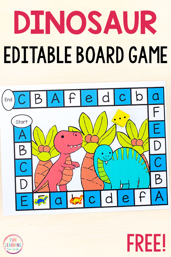 Editable dinosaur board game for kids to learn sight words, alphabet, math facts and more.