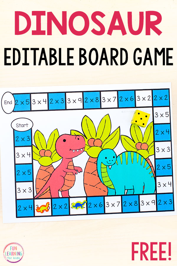 Editable Dinosaur Theme Board Game