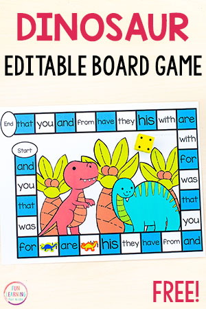 Free editable printable board game for your dinosaur theme.