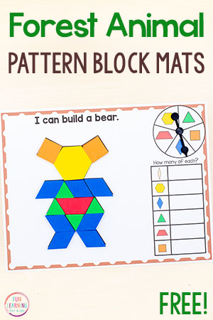 Forest animal pattern block activities.