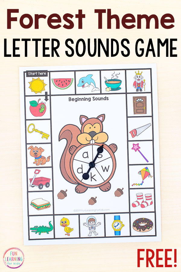 Forest theme beginning sounds board game.
