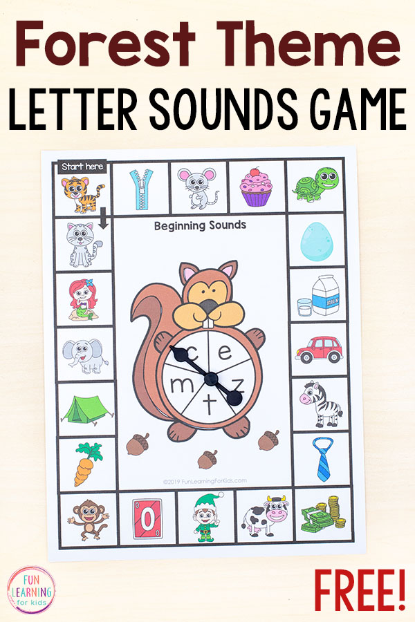 Squirrel theme phonics board game for preschool and kindergarten.