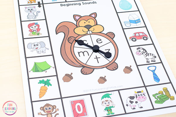 A forest theme board game for learning beginning sounds in preschool and kindergarten.