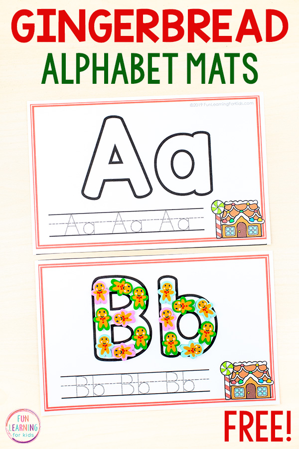 Gingerbread house theme writing mats with bubble letters and tracing font on handwriting lines.