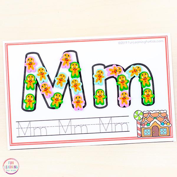 Gingerbread handwriting mats for preschoolers and kindergarten students.