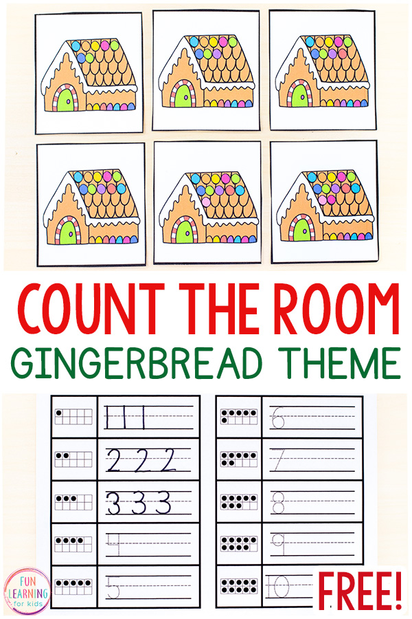 Gingerbread theme count the room cards with recording sheets