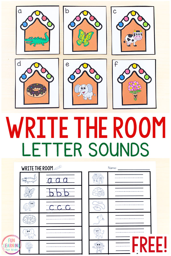 Printable gingerbread house cards with beginning sounds pics on them and matching recording sheets to use for this write the room alphabet activity.