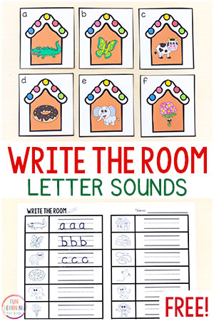 Gingerbread write the room alphabet activity with differentiated recording sheets.