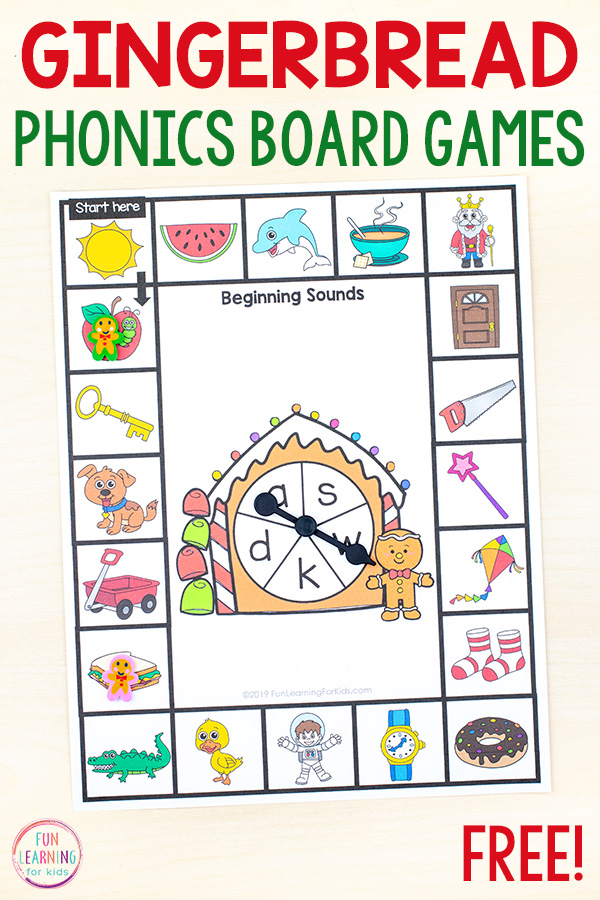 Gingerbread theme phonics board games
