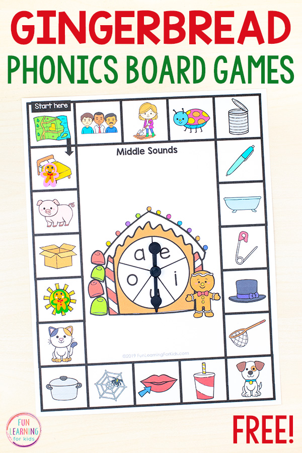 Print and play phonics board game for teaching middle vowel sounds.