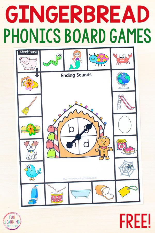 Print and play phonics board game with gingerbread spinner in the middle of the game board.