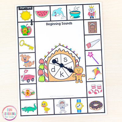 Print and play phonics board games