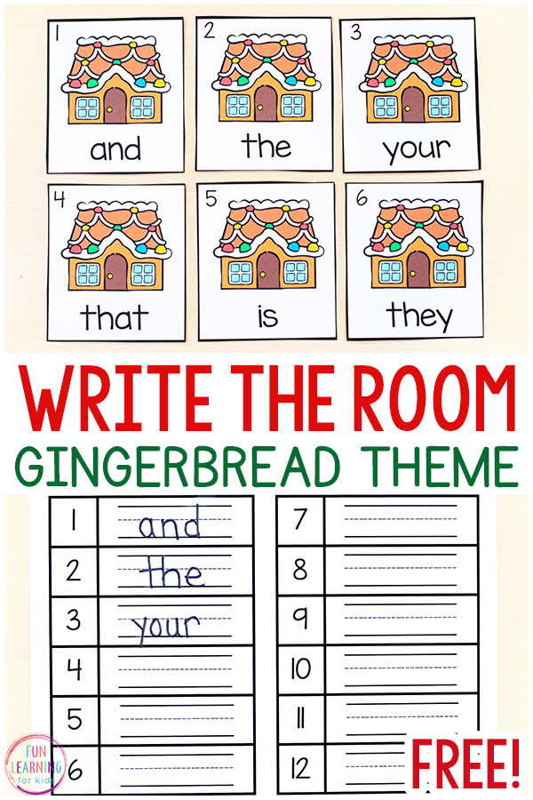 Gingerbread house theme write the room card and recording sheets.