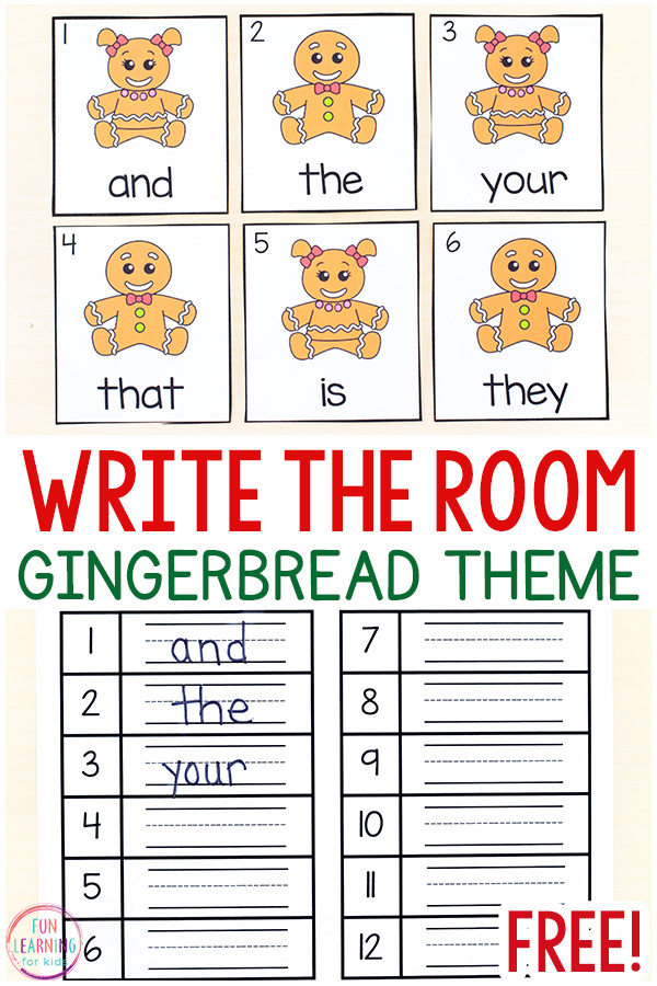 Gingerbread man write the room printable cards and corresponding recording sheet.