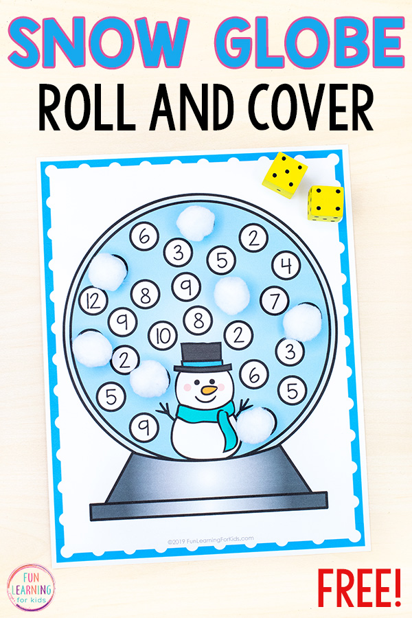 Snow globe mats with numbers on it and two dice to add numbers together and cover corresponding sum on the mat with white craft pom poms.