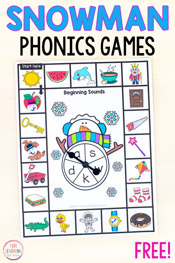 Printable phonics board game with spinner in the middle with letters on it and beginning sounds pics along around game board.