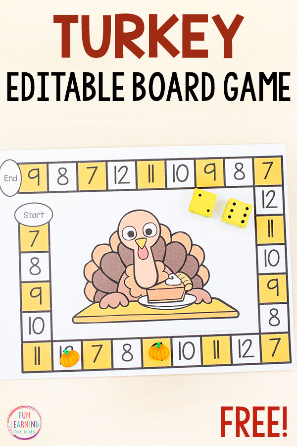 Thanksgiving game with a turkey theme.