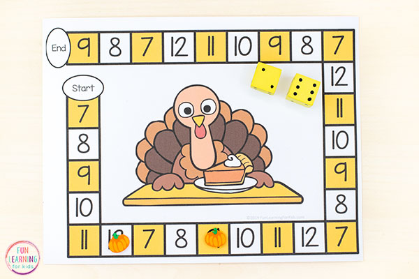 Thanksgiving activity for kids with turkey theme.