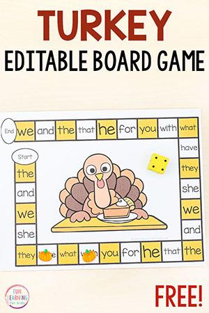 Editable Thanksgiving game