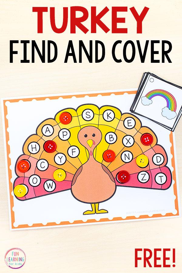 A fun turkey alphabet activity for Thanksgiving.