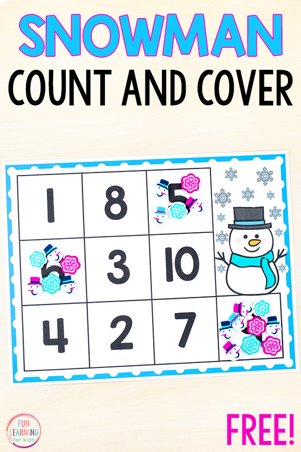 Free printable snowman counting math activity for with winter theme designs on it.