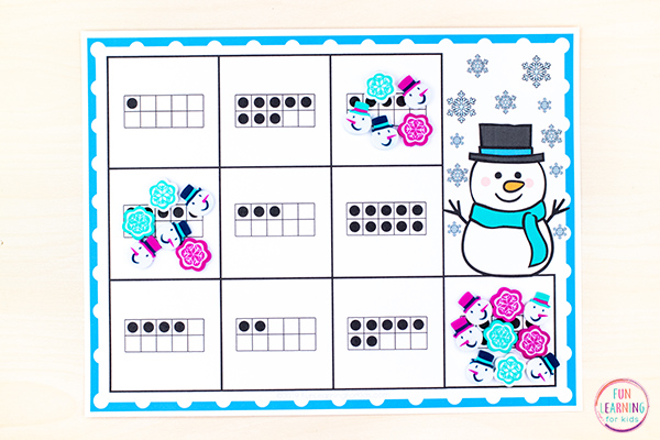 Printable snowman counting mats with ten frames on each space. Children learn number recognition, subtilizing, and counting.