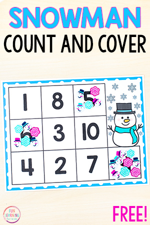 Snowman counting activity for winter math centers.