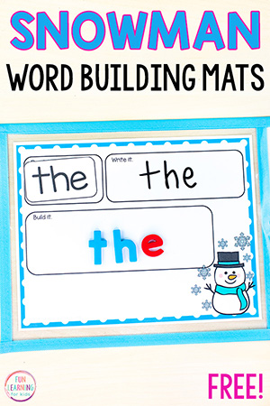 Snowman word building activity for word work centers this winter.